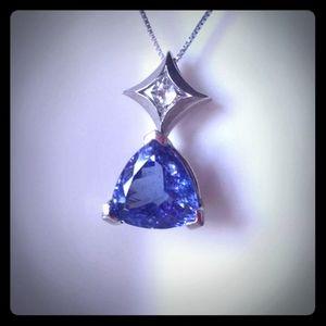 14KWG 3.82Ct Custom Tanzanite & Diamond Necklace